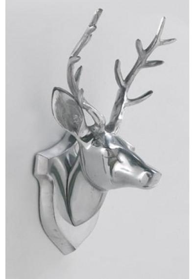 Aluminum Silver Deer Head Wall Decor
