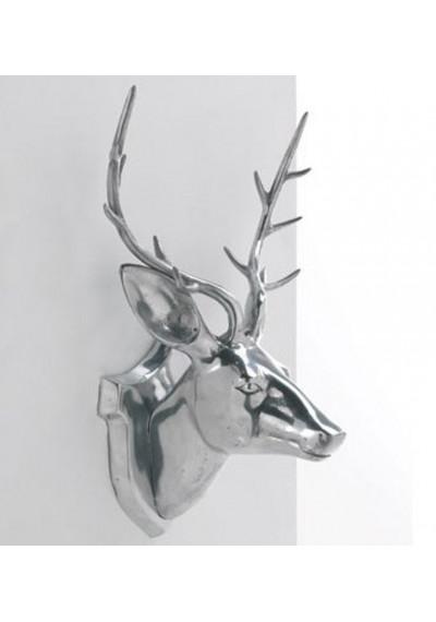 Aluminum Silver Deer Head Wall Mount Decor