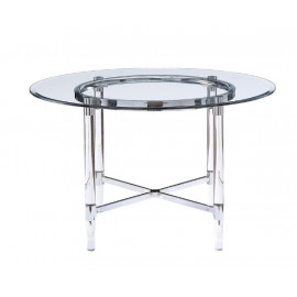 Glass Acrylic & Metal Round Top Dining Table
