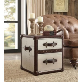 Aluminum & Rich Brown LeatherAccent Table Trunk