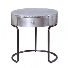 Aluminum Industrial Aircraft Round Accent Side Table