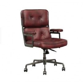Executive Office Desk Chair Vintage Top Grain Leather Swivel