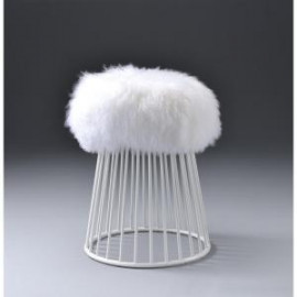 White Fluffy Wool Seat White Cage Base Footstool