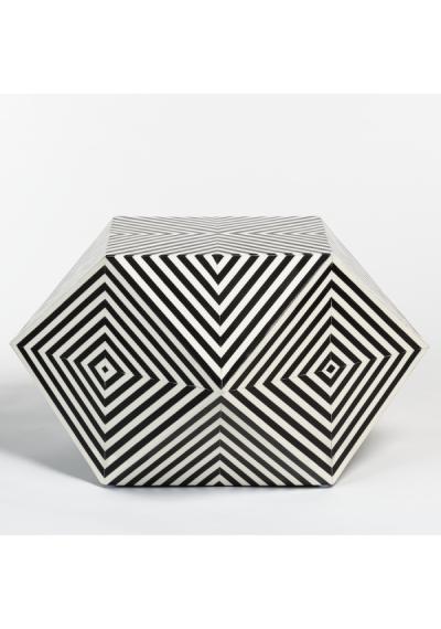 Black & White Bone Inlay Geometric Shape Coffee Table