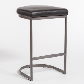 C Shaped Burnished Silver Metal & Black Leather Stool