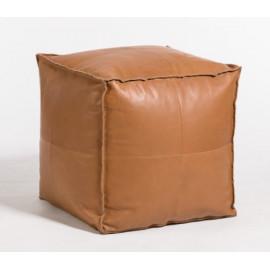 Caramel Square Leather Pouf Ottoman