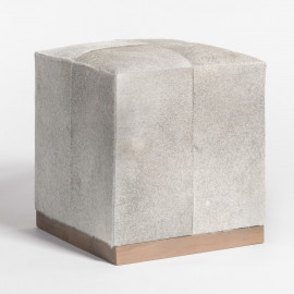 Grey Frosted Tan Hide Square Leather Footstool Ottoman