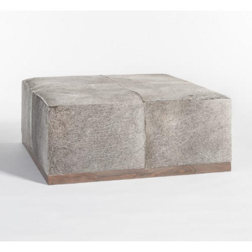 Grey Frosted Tan Hide Square Leather Coffee Table Ottoman