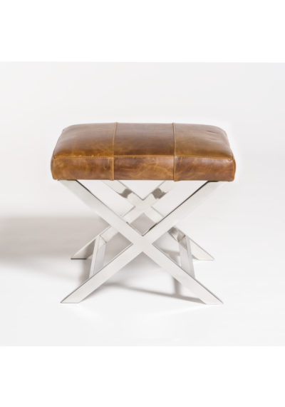 Stainless Steel X Frame Top Grain Leather Footstool Ottoman
