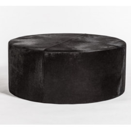 Black Ebony Hair on Hide Round Leather Coffee Table Ottoman