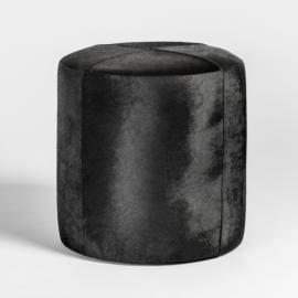 Black Ebony Hide Round Leather Footstool Ottoman