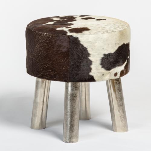 Black Brown White Brindled Hide Footstool Ottoman Pewter Legs