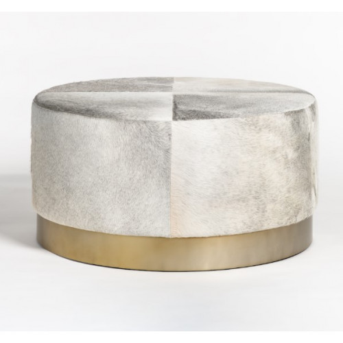 Grey Frosted Hide Round Leather Coffee Table Ottoman