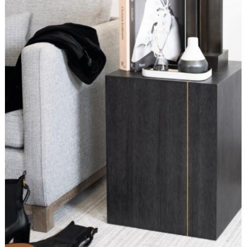 Dark Wood Block Bronze Metal Detailing Accent Table