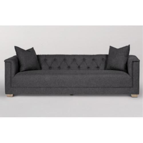 Charcoal Fabric Box Frame Sofa