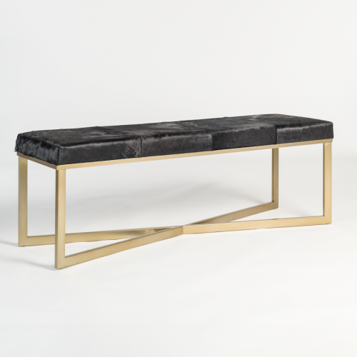 Brown Ebony Hide Leather Gold Base Bench