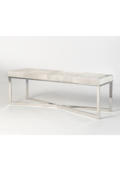 Frosted Grey Hide Leather Polished Chrome Base Bench