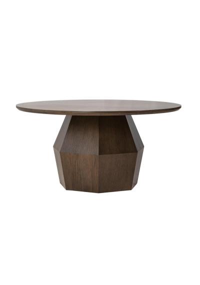 "Round 60"" Geometric Base Oak Dining Table"