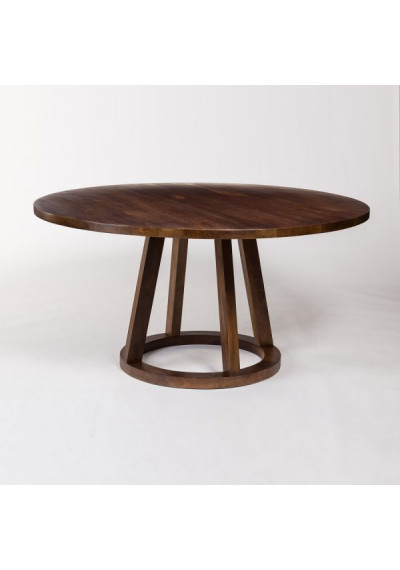 Dark Mango Wood Round Eclectic Dining Table 3 Sizes