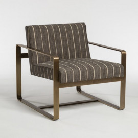 Charcoal Dusk Tan Striped Occasional Lounge Chair