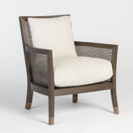 Birch Wood Beige Wheat Fabric Occasional Lounge Chair
