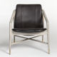 Black Leather White Grey Washed Beechwood Frame Eclectic Accent Chair