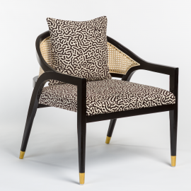 Black Frame Modern Black & Cream Maze Fabric Cane Back Accent Chair
