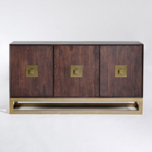 Dark Walnut & Gold Base Contemporary Sideboard