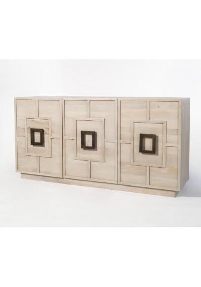LIght Shale Grey Mango Wood 3 Door Contemporary Sideboard