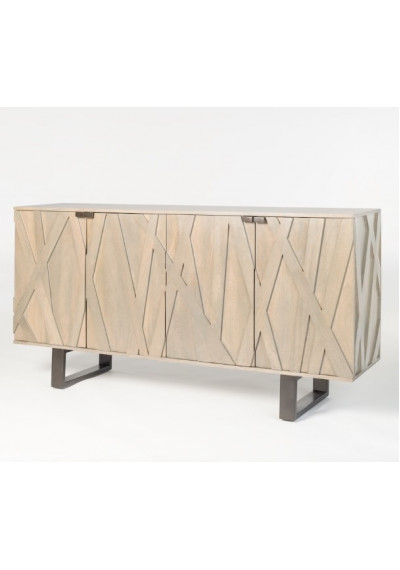 Light Shale Grey Mango Wood 4 Door Abstract Design Sideboard