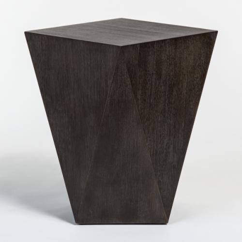 Geometric Shape Dark Wood Bronze Metal Detailing Accent Table