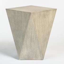 Geometric Shape Light Wood Bronze Metal Detailing Accent Table