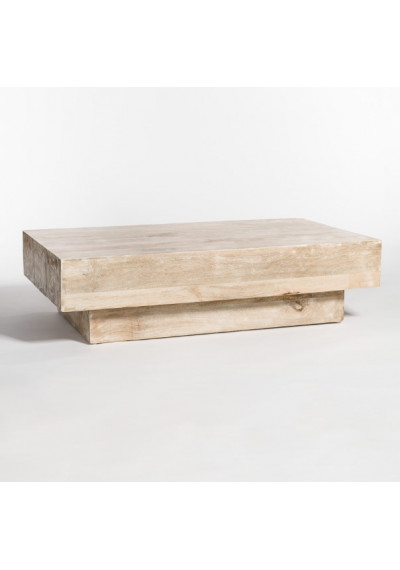 Rustic White Washed Mango Wood Rectangle Coffee Table