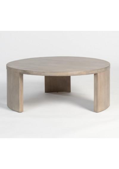 Round Mango Wood Coffee Table Ash Finish
