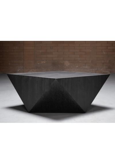 Geometric Shape Dark Wood Bronze Metal Detailing Coffee Table