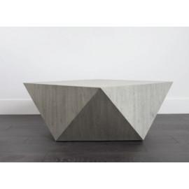 Geometric Shape Light Wood Bronze Metal Detailing Coffee Table