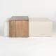 Cream Fabric & Birch Wood Block Coffee Table Ottoman