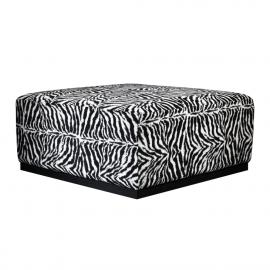 Large Square Zebra Fabric Coffee Table Ottoman