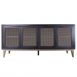 Dark Finish Oak 4 Door Brass Base Sideboard