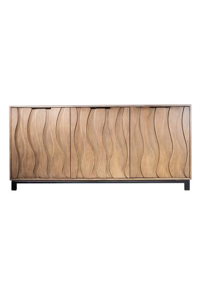 Oak Wood Wavelength 3 Door Cabinet Sideboard