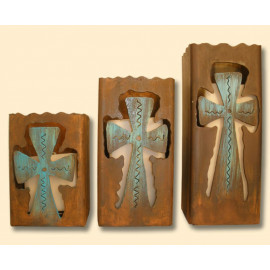 Metal Cross Candle Holders 3 Hand Made