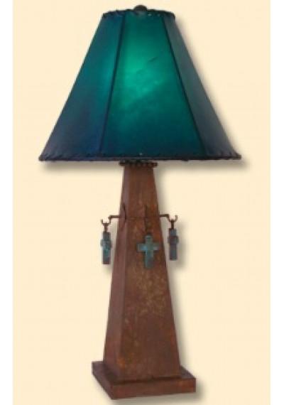 Handmade Southwestern Cross Lamp w/ Turquoise Shade
