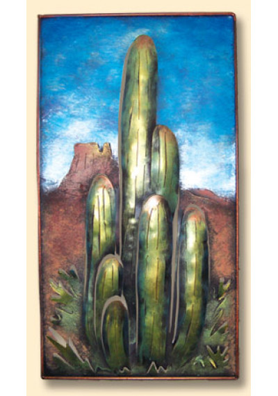 Handmade Metal Saguaro Cactus Desert Scene Wall Art