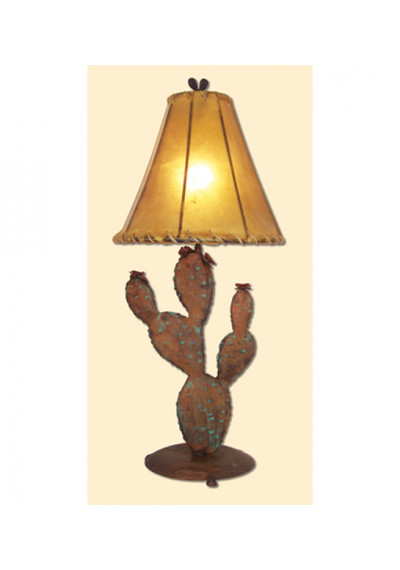 Desert Prickly Pear Cactus Metal Table Lamp & Shade
