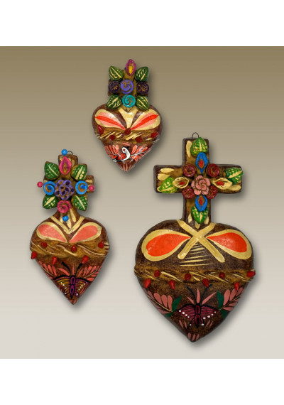 Spanish Style Ornate Painted Hearts Wall Decor