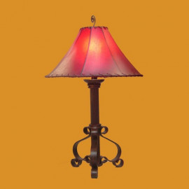 Forged Iron Table Lamp w/ Raw Hide Shade