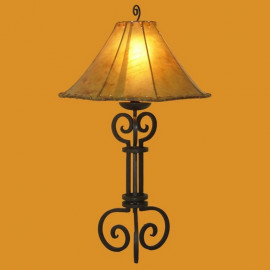 Forged Iron Table Lamp w/ Natural Raw Hide Shade