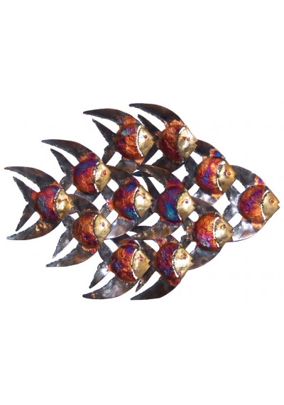 Hand Made Copper Dripped Metal School of Fish
