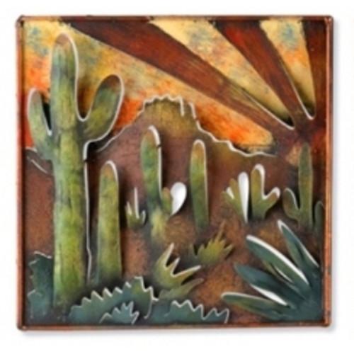 Handmade Metal Southwestern Saguaro Cactus Agave Desert Wall Art
