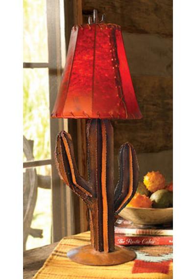 Desert Saguaro Cactus Iron Metal Table Lamp & Shade